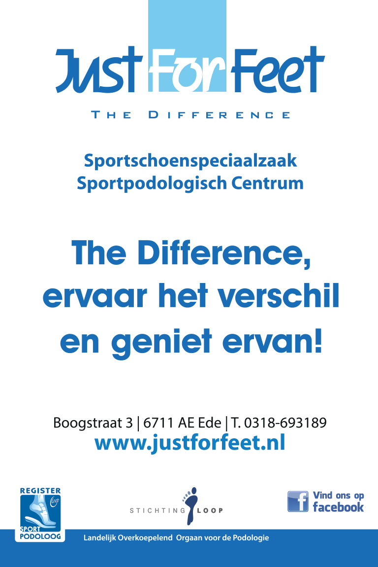 advertentie Just For Feet voorpagina site